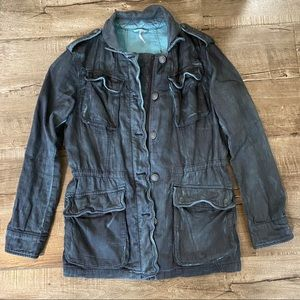 Free People Double Cloth Military Jacket Gray XS